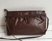 Vintage 80's Etienne Aigner Purse / Chocolate Brown Leather Shoulder Bag