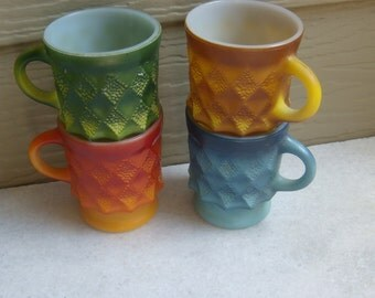 Vintage Fire King Colorful Kimberly Mugs Red,Orange,Green,Blue EUC