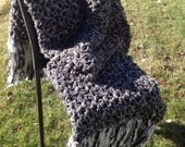 Black Grey Crochet Blanket Throw Afghan with Fringe Thick Bulky Unique One Of A Kind Hippie Boho Gypsy