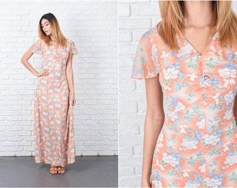 Floral Print Dress Vintage 70s Cap Angel Sleeve Orange Boho Hippie Small S 8410