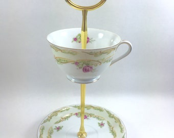 Pink Rose Teacup Stand Jewelry Display Candy Dish