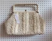 Vintage 1950s Off-White Raffia Two Handle Bag