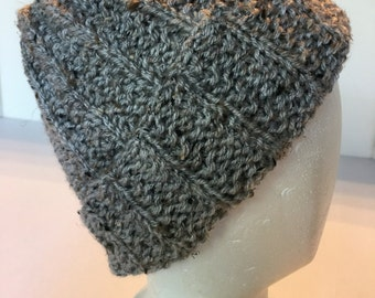 Handknitted Gray Winter Hat Slouch Hat
