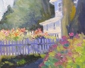 Summer Light and Flowers Small Original Landscape Oil Painting on Canvas