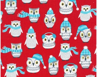 Winter Owls on Red from Robert Kaufman's Polar Pals by Andie Hanna
