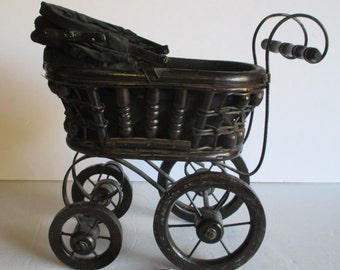 Miniature Baby Buggy, Small Vintage Decorative Wicker, Victorian Doll Pram Perambulator Wicker Iron Brown Black Rust, Metal Wheels Whimsical