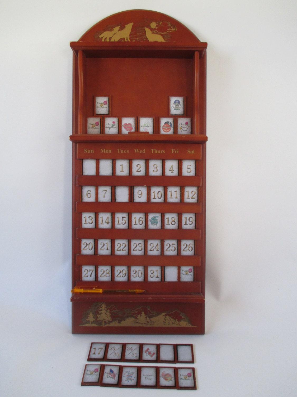 Perpetual Wall Calendar Vintage Wooden Tile Numbers Special