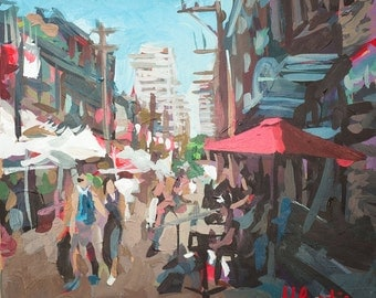"Original Art // Yaletown Market  (Vancouver no. 36) // 7"" x 7"" // Acrylic Painting on Paper"