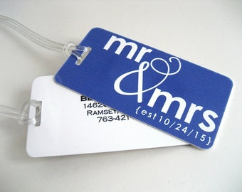 Luggage Tag - Mr and Mrs Luggage Tags -  His and Hers Luggage Tags-  Wedding Luggage Tag Set - Honeymoon Luggage Tag - Navy Blue