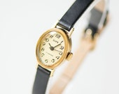 Tiny oval woman's watch Dawn, gold plated lady watch, Soviet fashion petite watch, beige face woman's watch gift, new premium leather strap