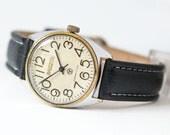 Modern men's watch, wrist watch vintage Rocket, big simple numerals watch, black white watch, quality mark watch, premium leather strap new