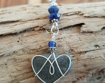 Womens Jewelry Stone Beach Heart Necklace With Sodalite Faceted Gemstone
