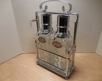Vintage Cut Glass Decanter Liquor Locker reversable labels and lock