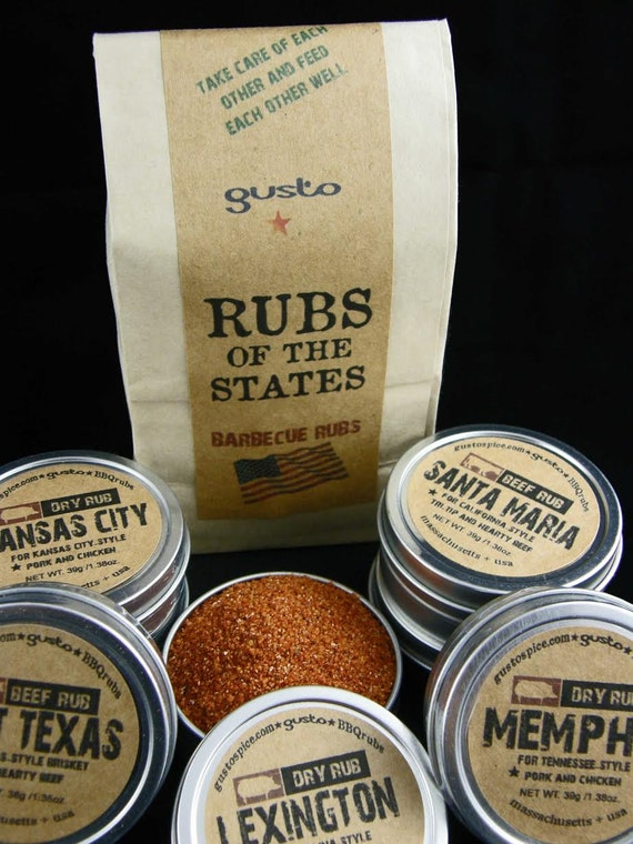 Gusto's Original RUBS of the STATES - Barbecue Rub Gift Set - BBQ Grilling Spices for Dad