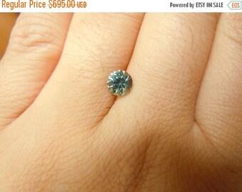 SEPTEMBER SALLE Genuine Montana Sapphire .91 carat Light Green Blue 5.6 mm Round Brilliant cut Loose Gemstone for Jewelry