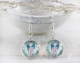 Spring Girl Earrings - Earrings - Turquoise Earrings - Blue Earrings - Flower Girl Earrings - Art Jewelry (17-2E)