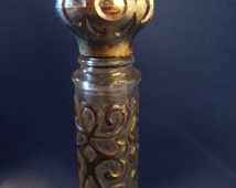 Avon glass perfume bottle silver tone metal overlay
