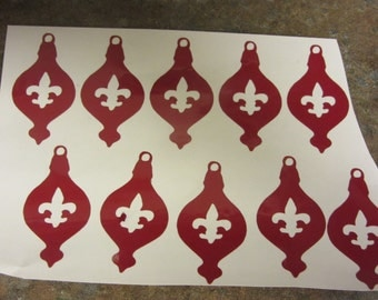 red Christmas ornament stickers 10 count