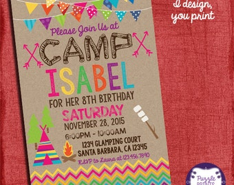 Camping Invitation - Camping Birthday Invitation - Sleepover Birthday Invitation - Girl Camping Party - I design you print