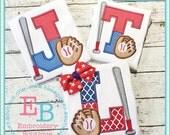 Baseball Letter Applique Shirt - Boy's Summer Applique Design - Custom Monogram or name - Boy's Baseball themed Birthday Party