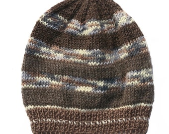 Mens Unisex Knitted Brown Blue Winter Wool Beanie. Size - ADULT . Handmade  . A Great Gift Idea . Made in Australia .