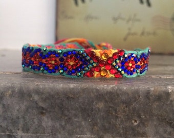 Crystal Friendship Bracelet (Blue Red Yellow Colour)