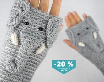 Elephant Fingerless Gloves ~ FREE Shipping Worldwide