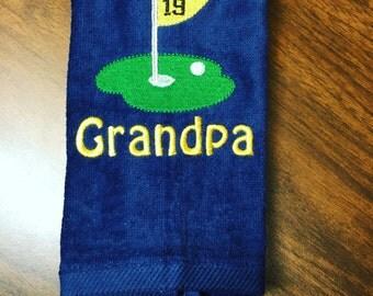 Monogrammed golf towels, golf gift, grommet towel, fingertip towel, birthday golf towel, golf team towel, golf gift