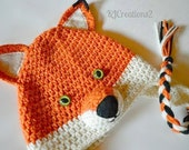 Fox earflap beanie-Made to order-Fox Hat-Leave size as a message