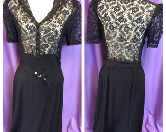 LUSCIOUS LACE 1930s/40s ILLUSION dress with belt