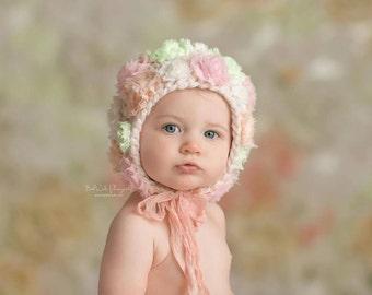 6-12 mos bonnet - 'SPRING BOUQUET' - Bouquet bonnet line- baby hat - sitter bonnet - photography prop - knitbysarah - stitches by sarah