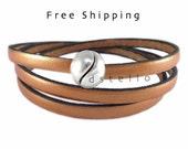Wrap bracelet, Leather wrap bracelet, Genuine leather, Multi strand bracelet, Real leather, Triple wrap bracelet, Custom made, Unisex gift