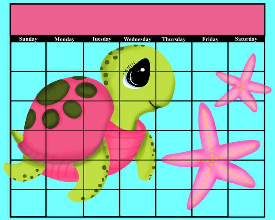 Calendar Girly : Pink sea turtle turtles starfish girly purple calendar