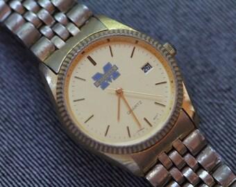Vintage Michigan Quartz Watch gold tone with fluted bezel metal bracelet