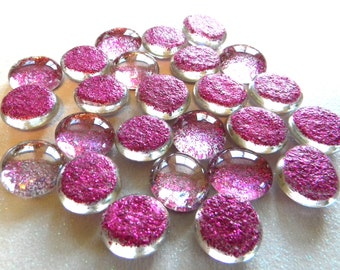 25 Glass Gems - FUCHSIA Glitter - Hand Painted - Medium Size - Half Marbles/Cabochons