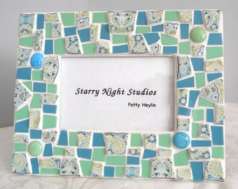 Mosaic Frame Blue and Green PAISLEY Look - Recycled China Tiles and Stained Glass