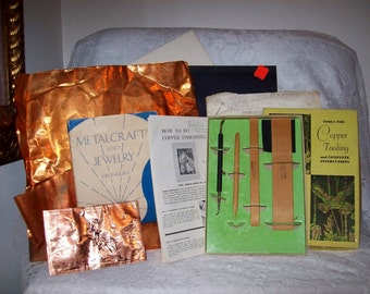 Vintage Copper Tooling Kit w/ Metalcraft & Jewelry Book and Supplies All for 12 USD