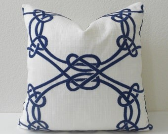 Navy blue embroidered trellis decorative throw pillow
