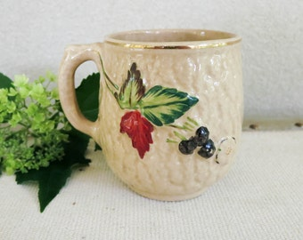 1800's Antique Majolica Mug or Vase - Avalon Faience Blackberry - Rustic Fall Decor - Nature Theme Country Chic Decor - Victorian Majolica