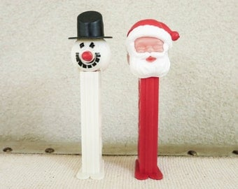 Vintage Christmas PEZ Candy Container Dispensers - Santa PEZ and Snowman PEZ - Made in Yugoslavia - Christmas Decoration - Stocking Stuffer