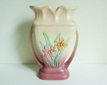 1940's Hull Art Pottery Vase - Pastel Pink Yellow Green - Hull Iris Vase - Mid Century - Nature Theme - Botanical Country Chic Decor