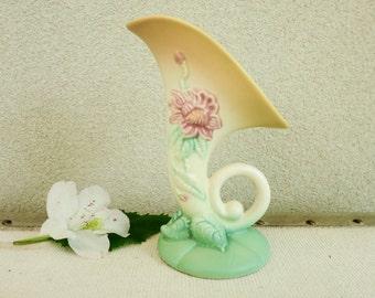 1940's Botanical Vase - Hull Art Pottery Woodland Cornucopia - Feminine Decor - Nature Theme Decor - Boho Decor - Country Chic Decor