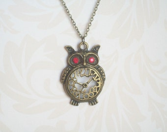 Etsy your place to buy and sell all things handmade bronze owl necklace red eyed owl clock necklace steampunk mad hatter grunge mozeypictures Images