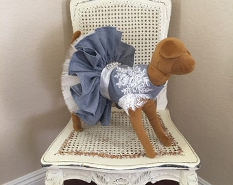 Coup de Foudre Dog Dress, Denim Blue