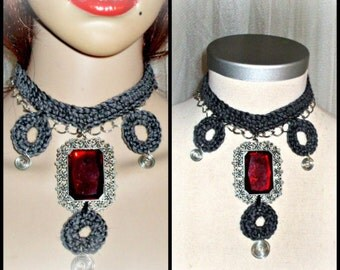 handmade crochet necklace,goth syle,