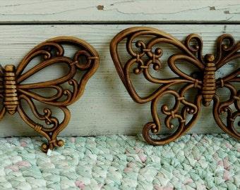 Vintage Butterfly Set - 1980s  Butterfly Wall Art, Retro Home Decor, Two Vintage Brown Butterflies in Flight, Wall Decor, I Love Butterflies
