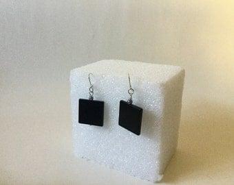 Earrings,Black Onyx Earrings,Black Square Earrings,Black Stone Earrings,Onyx Earrings,