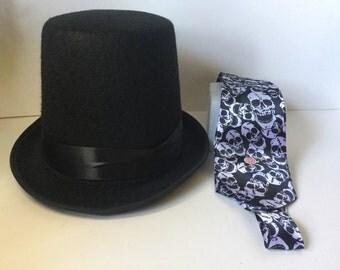 Halloween Top Hat, Halloween Skull Tie, Halloween Hat, Black Top Hat, Musical Skull Tie,Halloween Hat and Tie,Halloween Hat,Halloween Things