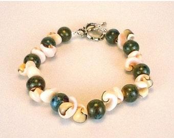Clearance Sale Sea Shell Bracelet - Shell Bracelt - Porcelain Beads - Green Bracelet-  toggle clasp