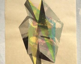 original silkscreen monoprint//crystal world//ethereal space investigation//